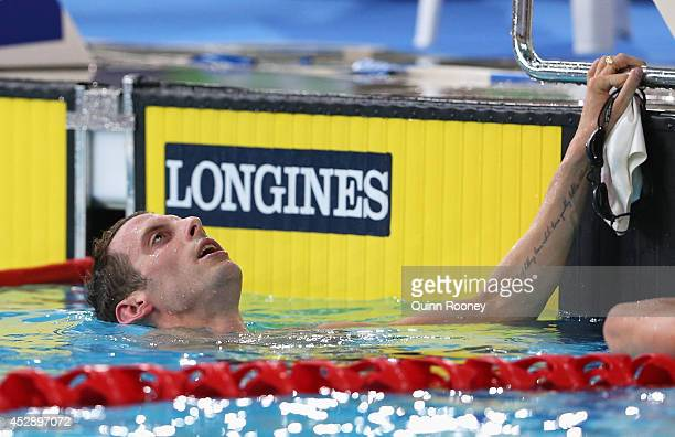 Ryan Cochrane of Canada reacts after winning the gold medal in the Men's 1500m Freestyle Final at Tollcross International Swimming Centre during day...