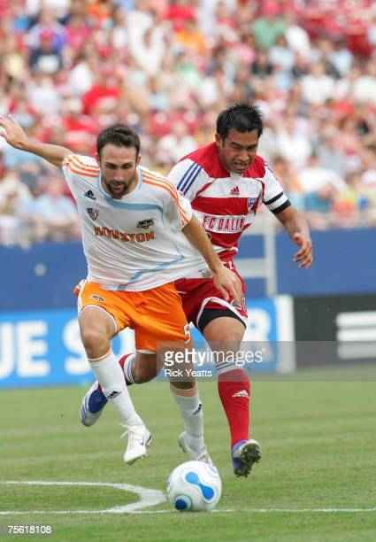 Ryan Cochrane of Houston goes for the ball during a MLS match between FC Dallas and Houston Dynamo at Pizza Hut Park on June 30 2007 in Frisco Texas