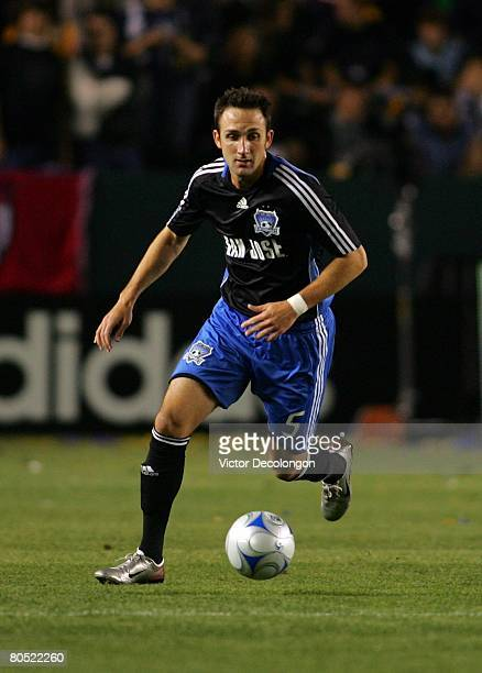 Ryan Cochrane of the San Jose Earthquakes moves the ball from the backfield against the Los Angeles Galaxy in the first half during their MLS game at...