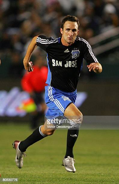 Ryan Cochrane of the San Jose Earthquakes runs back to defend his backfield against the Los Angeles Galaxy in the second half during their MLS game...