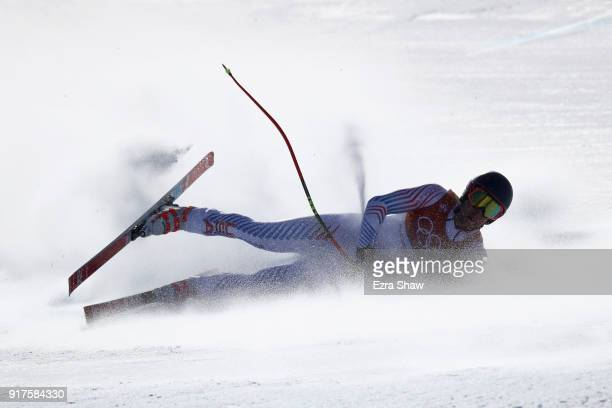Ryan CochranSiegle of the United States crashes during the Men's Alpine Combined Downhill on day four of the PyeongChang 2018 Winter Olympic Games at...