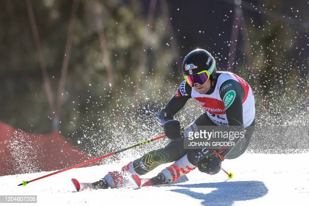 Ryan CochranSiegle of the US competes during the first run of the men's giant slalom of the FIS Ski World Cup in Hinterstoder Austria on March 2 2020...