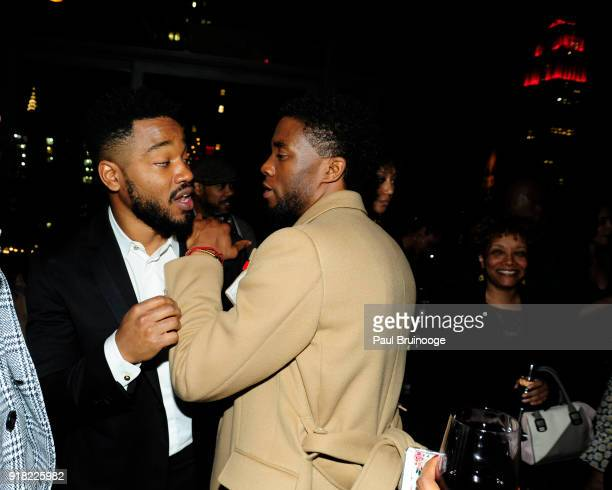 Ryan Coogler and Chadwick Boseman attend The Cinema Society with Ravage Wines Synchrony host the after party for Marvel Studios' 'Black Panther' at...