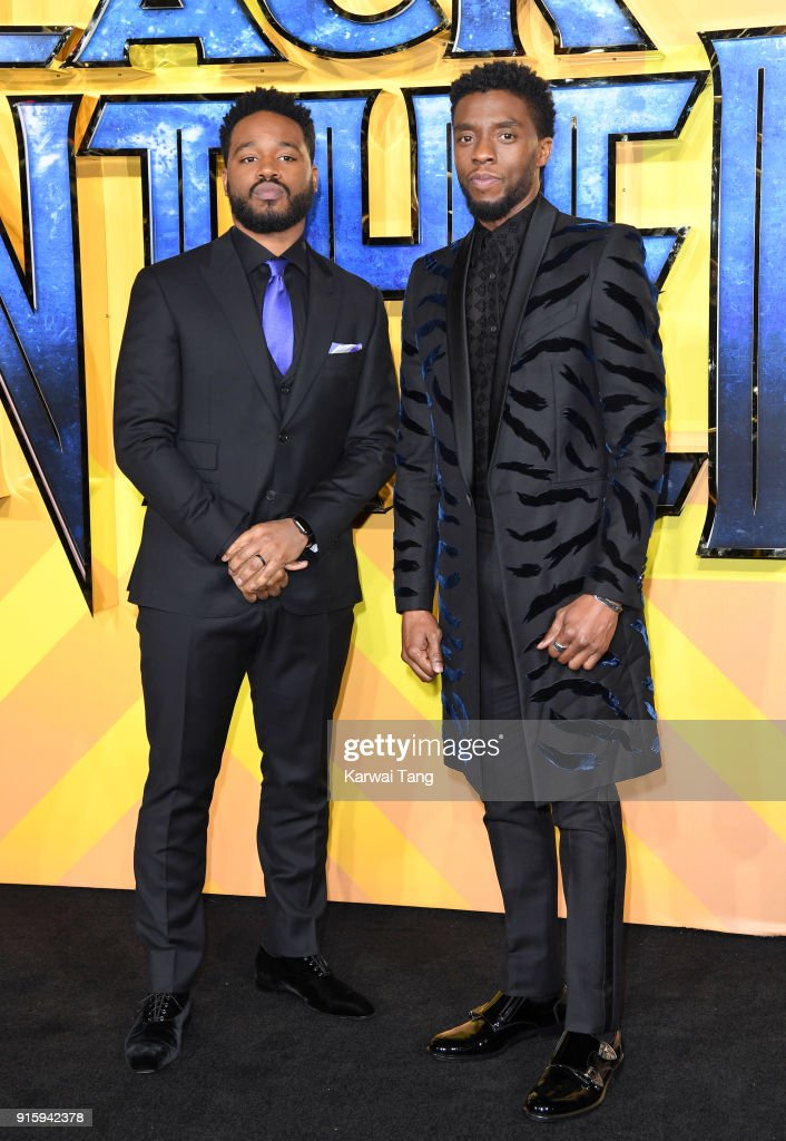 Ryan Coogler and Chadwick Boseman attend the European Premiere of 'Black Panther' at Eventim Apollo on February 8, 2018 in London, England.