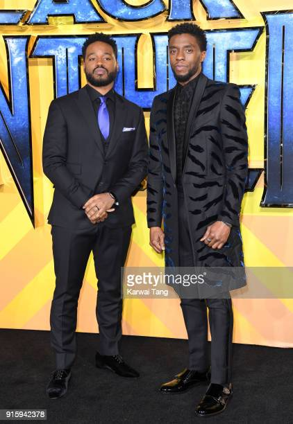 Ryan Coogler and Chadwick Boseman attend the European Premiere of 'Black Panther' at Eventim Apollo on February 8 2018 in London England