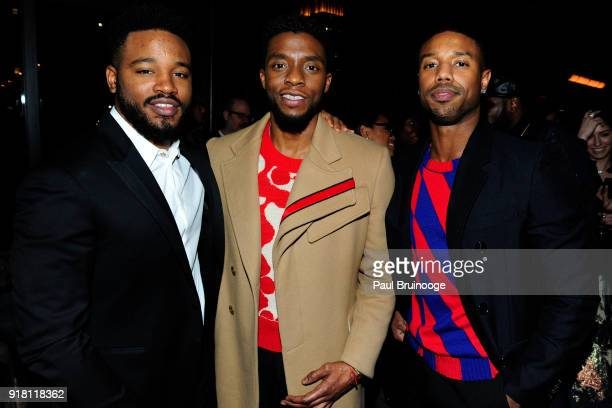 Ryan Coogler Chadwick Boseman and Michael B Jordan attend The Cinema Society with Ravage Wines Synchrony host the after party for Marvel Studios'...