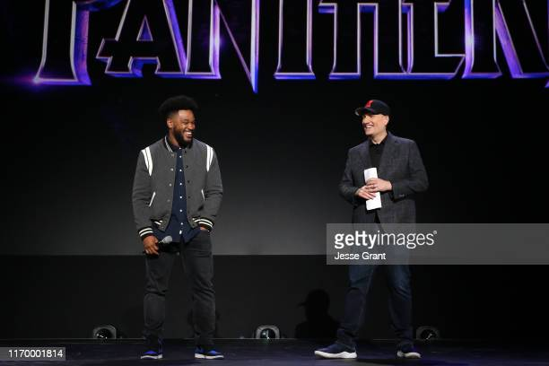Ryan Coogler of 'Black Panther 2' and President of Marvel Studios Kevin Feige took part today in the Walt Disney Studios presentation at Disney's D23...