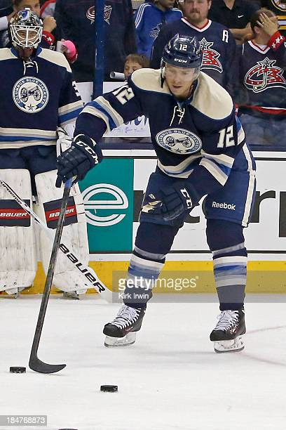 Ryan Craig of the Columbus Blue Jackets warms up prior to the start of the game against the Boston Bruins on October 12 2013 at Nationwide Arena in...