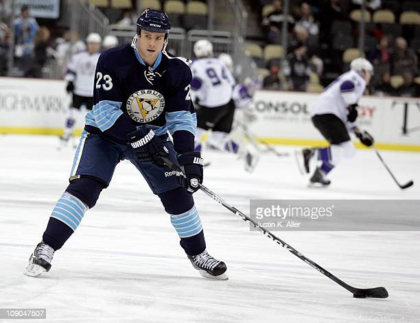 Ryan Craig of the Pittsburgh Penguins skates against the Los Angeles Kings at Consol Energy Center on February 10 2011 in Pittsburgh Pennsylvania The...