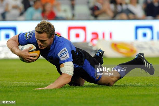 Ryan Cross goes over for his try during the Super 14 match between Vodacom Cheetahs and Western Force at Vodacom Park on May 8, 2010 in Bloemfontein,...