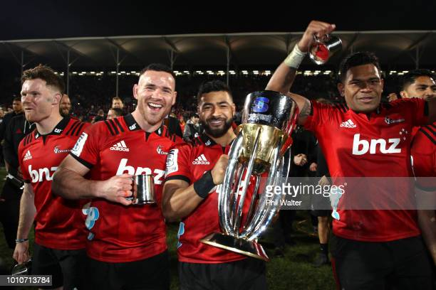 Ryan Crotty and Richie Mo'unga of the Crusaders celebrate during the Super Rugby Final match between the Crusaders and the Lions at AMI Stadium on...