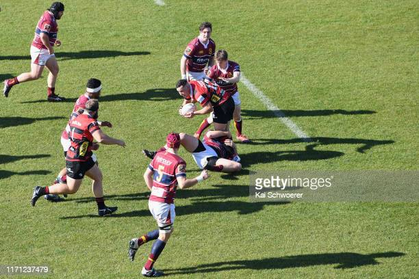 Ryan Crotty of Canterbury is tackled during the round 4 Mitre 10 Cup match between Canterbury and Southland at Orangetheory Stadium on August 31 2019...