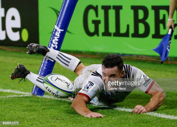 Ryan Crotty of Crusaders scores a try during a match between Jaguares and Crusaders as part of 6th round of Super Rugby at Jose Amalfitani Stadium on...