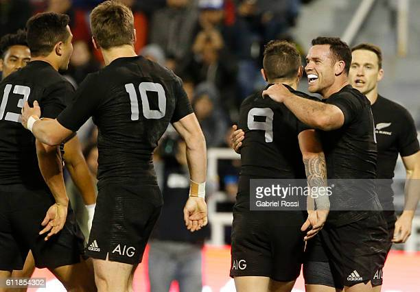 Ryan Crotty of New Zealand and teammates celebrate their team's try during match between New Zealand and Argentina as part of Rugby Championship 2016...