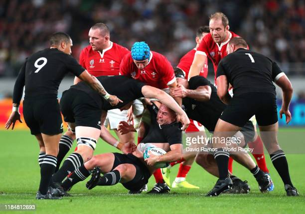 Ryan Crotty of New Zealand caught in a melee of players during the Rugby World Cup 2019 Bronze Final match between New Zealand and Wales at Tokyo...