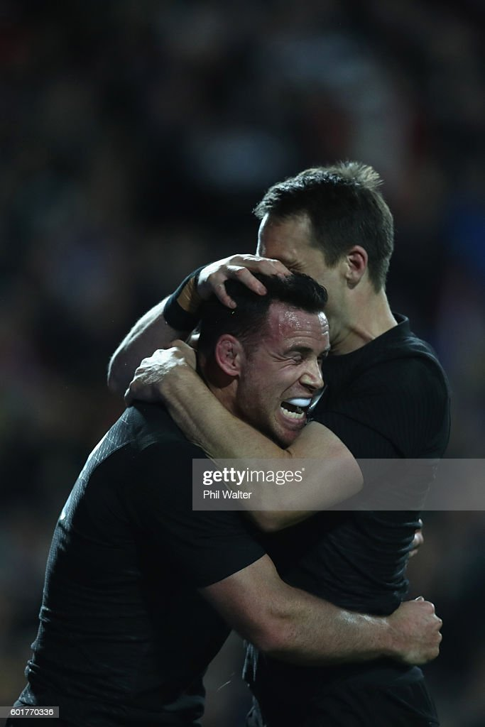 Ryan Crotty of the All Blacks celebrates his try with Ben Smith during the Rugby Championship match between the New Zealand All Blacks and Argentina at Waikato Stadium on September 10, 2016 in Hamilton, New Zealand.