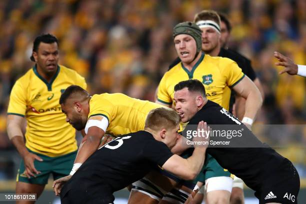 Ryan Crotty of the All Blacks clashes heads with Jack Goodhue of the All Blacks during The Rugby Championship Bledisloe Cup match between the...