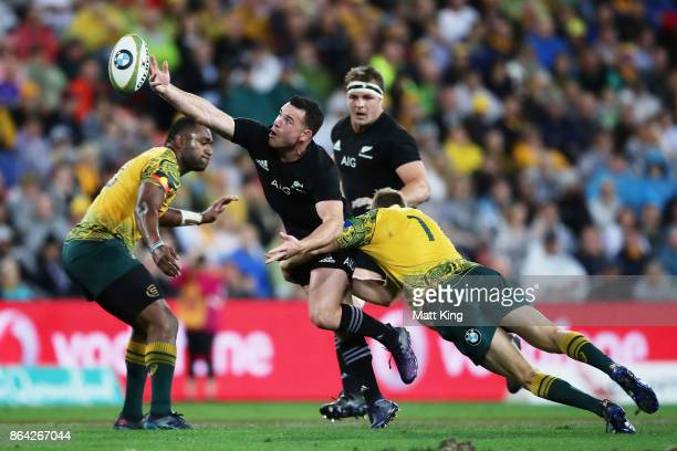 Ryan Crotty of the All Blacks drops the ball during the Bledisloe Cup match between the Australian Wallabies and the New Zealand All Blacks at...