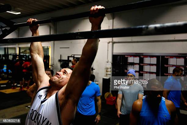 Ryan Crotty of the All Blacks during a New Zealand All Blacks gym session at Les Mills Gym on August 3 2015 in Auckland New Zealand