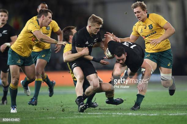 Ryan Crotty of the All Blacks makes a break during The Rugby Championship Bledisloe Cup match between the New Zealand All Blacks and the Australia...