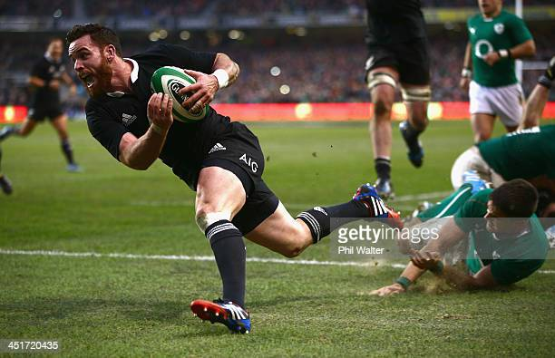 Ryan Crotty of the All Blacks scores the match winning try during the International match between Ireland and the New Zealand All Blacks at Aviva...