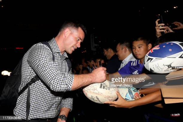 Ryan Crotty of the All Blacks signs autographs for fans after arriving to their hotel on September 09, 2019 in Kashiwa, Chiba, Japan.