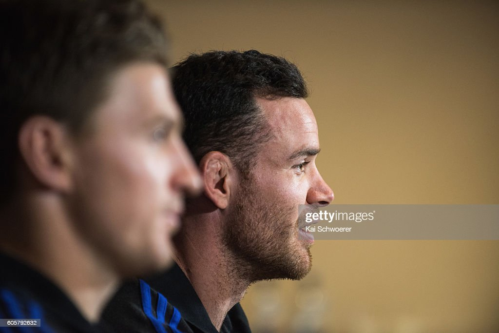 Ryan Crotty of the All Blacks speaks to the media during a New Zealand All Blacks press conference on September 15, 2016 in Christchurch, New Zealand.
