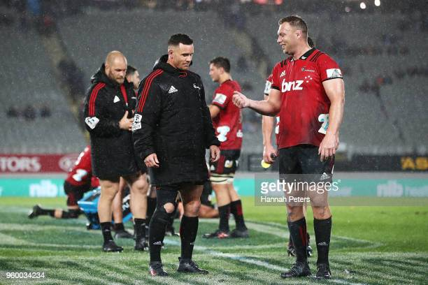 Ryan Crotty of the Crusaders and Wyatt Crockett celebrate after winning the round 14 Super Rugby match between the Blues and the Crusaders at Eden...