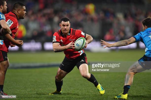 Ryan Crotty of the Crusaders charges forward during the round 19 Super Rugby match between the Crusaders and the Blues at AMI Stadium on July 14 2018...