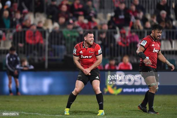 Ryan Crotty of the Crusaders reacts during the round 19 Super Rugby match between the Crusaders and the Blues at AMI Stadium on July 14 2018 in...