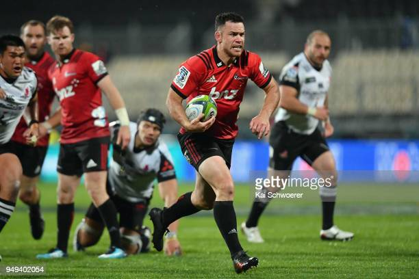 Ryan Crotty of the Crusaders runs through to score a try during the round 10 Super Rugby match between the Crusaders and the Sunwolves at AMI Stadium...