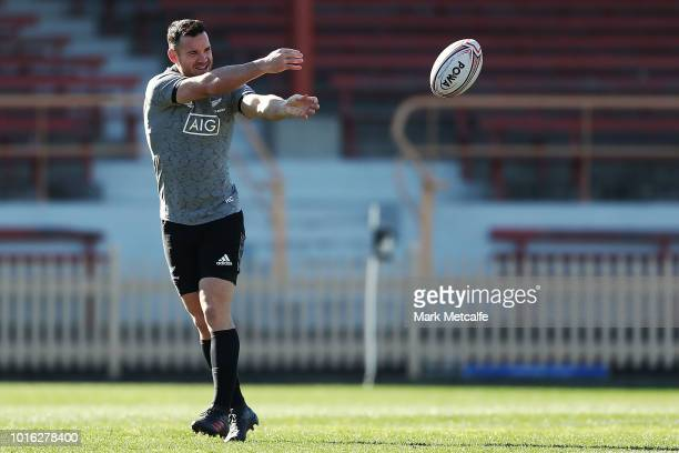 Ryan Crotty passes during a New Zealand All Blacks training session at North Sydney Oval on August 14 2018 in Sydney Australia