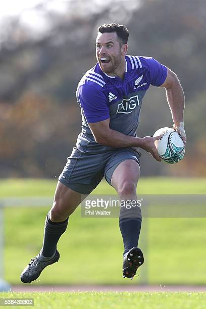 Ryan Crotty passes during a New Zealand All Blacks training session at Trusts Stadium on June 7 2016 in Auckland New Zealand