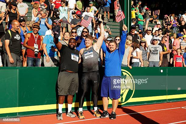 Ryan Crouser first place Joe Kovacs second place and Jordan Clarke celebrate after the Men's Shot Put Final during the 2016 US Olympic Track Field...