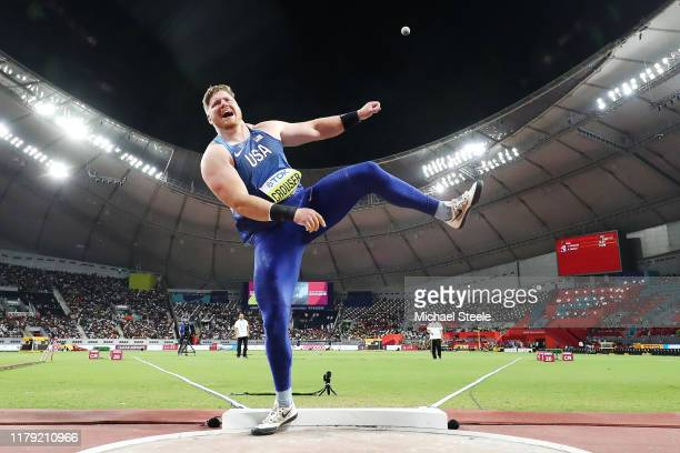 Ryan Crouser of the United States competes in the Men's Shot Put final during day nine of 17th IAAF World Athletics Championships Doha 2019 at...
