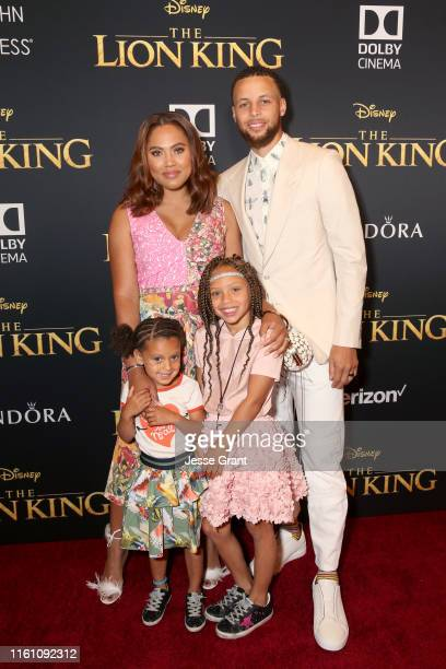 Ryan Curry Ayesha Curry Riley Curry and Stephen Curry attend the World Premiere of Disney's THE LION KING at the Dolby Theatre on July 09 2019 in...