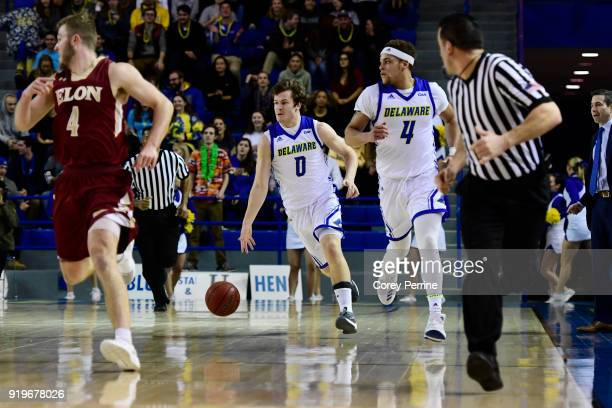 Ryan Daly of the Delaware Fightin Blue Hens dribbles against the Elon Phoenix during the first half at the Bob Carpenter Center on February 17 2018...