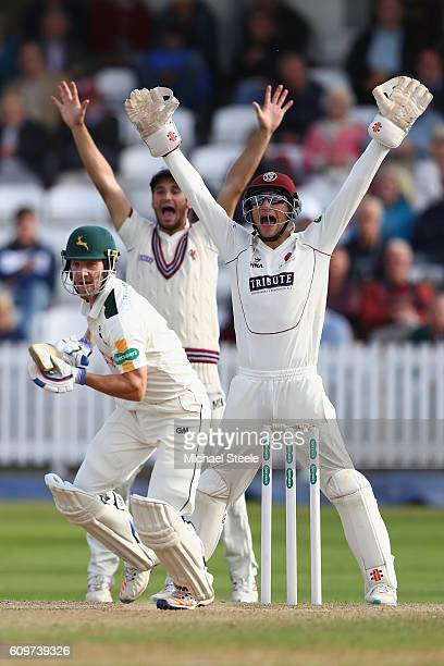 Ryan Davies of Somerset appeals successfully for the lbw wicket of Chris Read off the bowling of Jack Leach during day three of the Specsavers County...