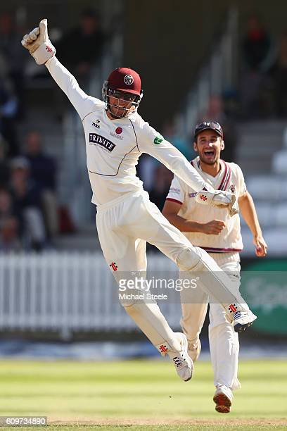 Ryan Davies the wicketkeeper of Somerset celebrates after running out Tom Moores during day three of the Specsavers County Championship Division One...