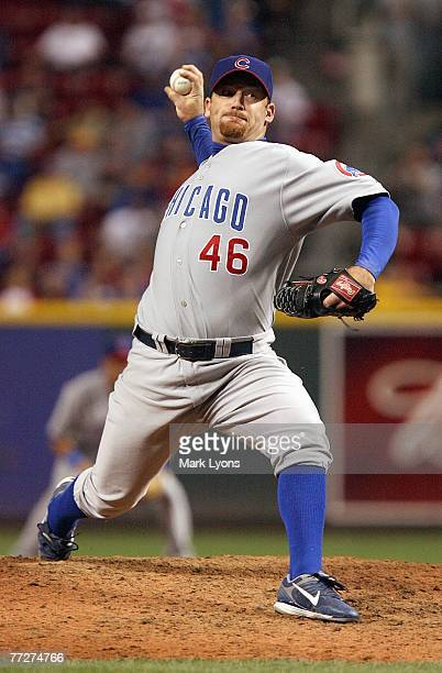 Ryan Dempster of the Chicago Cubs delivers the pitch during the game against the Cincinnati Reds on September 28, 2007 at Great American Ballpark in...