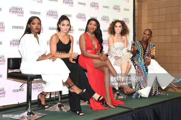 Ryan Destiny Brittany O'Grady Amiyah Scott Jude Demorest and Miss Lawrence of 'Star' pose in the press room at the 2017 ESSENCE Festival presented by...