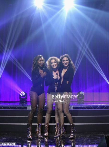 Ryan Destiny Jude Demorest and Brittany O'Grady perform during the Honda Stage Celebrates The Music Of FOX's Star event at iHeartRadio Theater on...