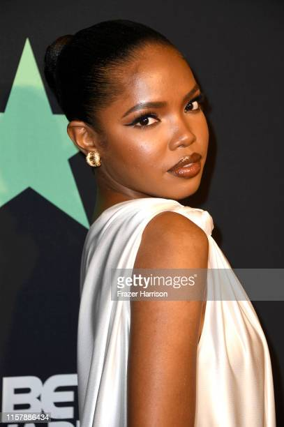 Ryan Destiny poses in the press room at the 2019 BET Awards on June 23 2019 in Los Angeles California