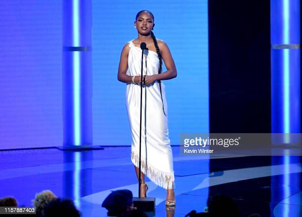 Ryan Destiny speaks onstage at the 2019 BET Awards on June 23 2019 in Los Angeles California