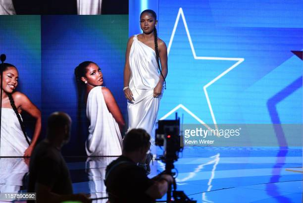 Ryan Destiny stands onstage at the 2019 BET Awards on June 23 2019 in Los Angeles California