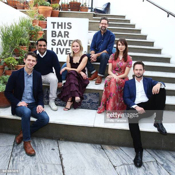 Ryan Devlin Ravi Patel Kristen Bell Todd Grinnell Troian Bellisario and Patrick Adams attend This Bar Saves Lives Press Launch Party at Ysabel on...