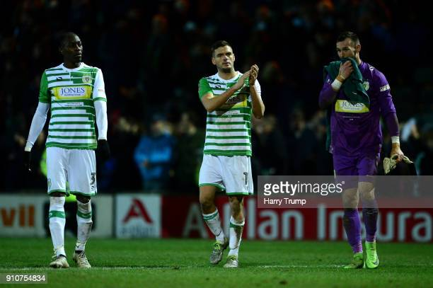 Ryan Dickson of Yeovil Town claps the fans after The Emirates FA Cup Fourth Round match between Yeovil Town and Manchester United at Huish Park on...