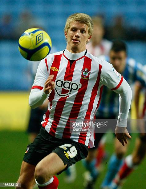 Ryan Doble of Southampton in action during the FA Cup 3rd round match between Coventry City and Southampton at the Ricoh Arena on January 07 2012 in...