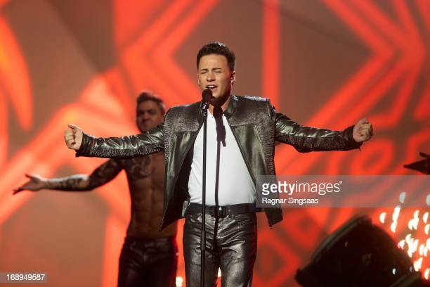 Ryan Dolan of Ireland performs during a dress rehearsal ahead of the finals of the Eurovision Song Contest 2013 at Malmo Arena on May 17 2013 in...