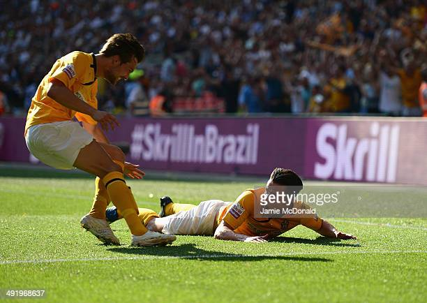 Ryan Donaldson of Cambridge United celebrates his goal during the Skrill Conference Premier PlayOffs Final between Cambridge United and Gateshead FC...